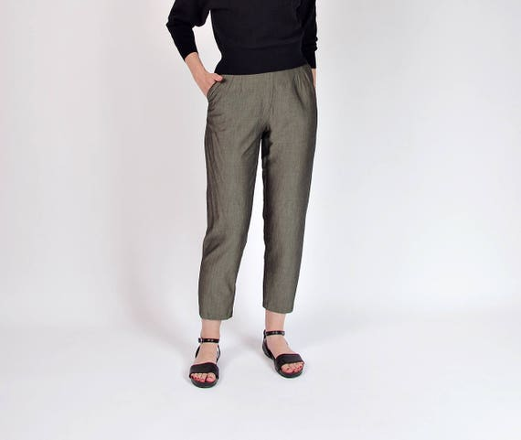 SALE! 90s Lightweight sage sheen pants / size M