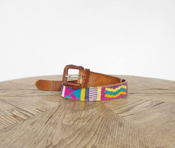 70s Ethnic styled bohemian real leather belt