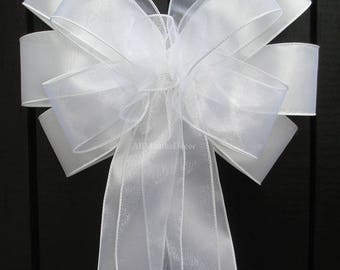 White Sheer Satin Pew Bow, Assembled Wedding Bridal Church Decorations, Ceremony, Baby Shower, Reception, Bows for Chairs