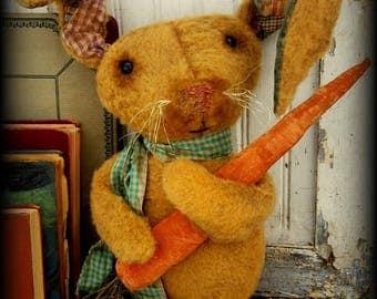 Primitive Folk Art Plush Fur Standing Rabbit with Carrot-Farmhouse, Vintage, Scruffy, Easter Decor, Spring Decor, Home Decor, Bunny & Carrot