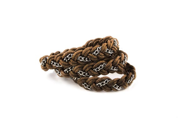 Wrapped wax cotton cord unisex bracelet with chain by GunaDesign