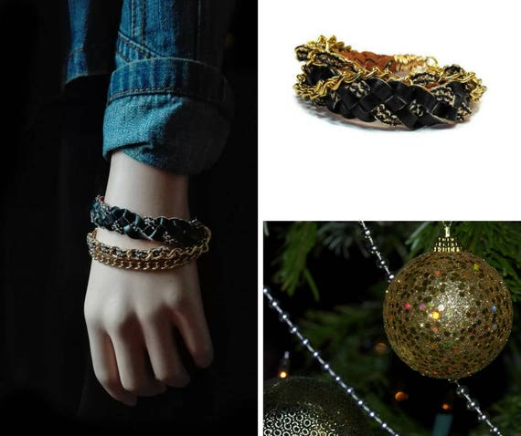 Multistrand bracelet wristband from black recycled faux leather and jewelry chains for woman by GunaDesign
