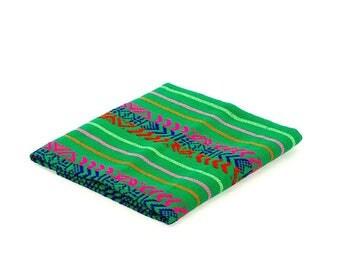 Cinco de Mayo, Tela Mexicana, Green Fabric by the Yard, Mexican embroidered, Fiesta decoration, Dia de los muertos decor, FAB301