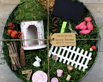Fairy garden kit with container DIY, pink green polka dot round fairy house galvanized outdoor container