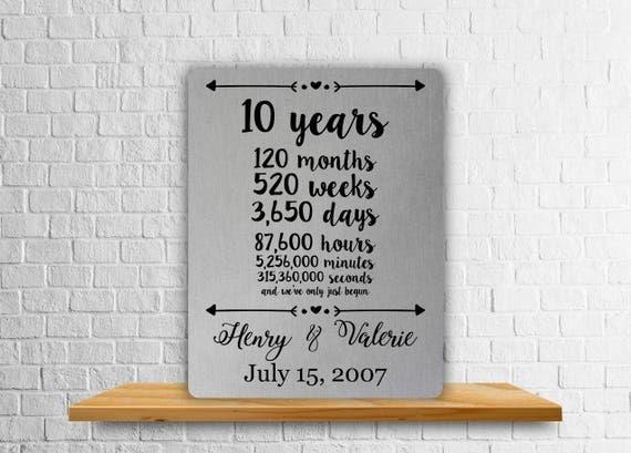 Tenth Year Wedding Anniversary Gift: 10 Year Anniversary Gift Aluminum Art Print Wedding Gift