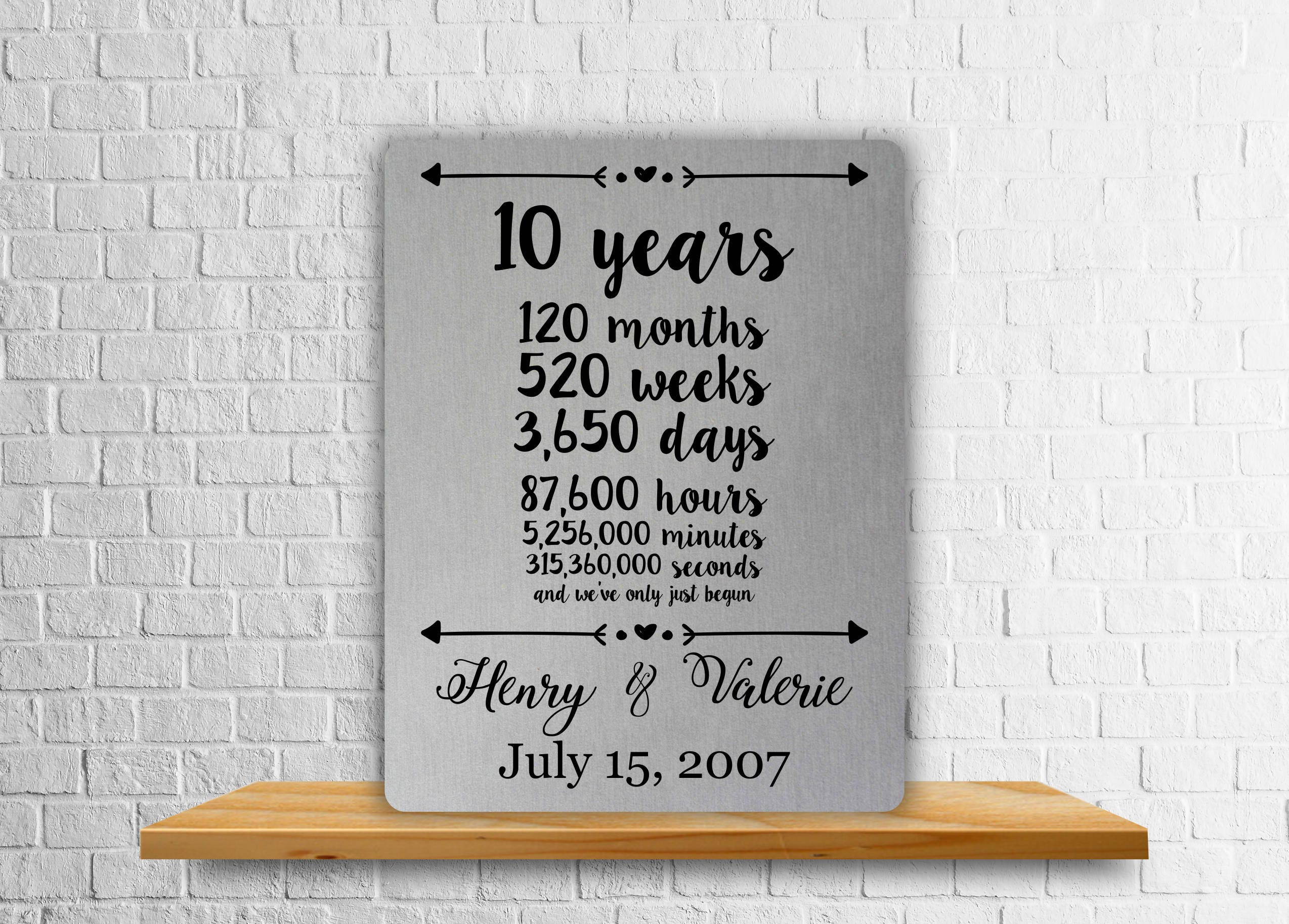 10 Years Wedding Anniversary Gift Ideas: 10 Year Anniversary Gift Aluminum Art Print Wedding Gift