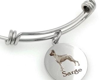 Great Dane Engraved Expandable Personalized Bangle Bracelet