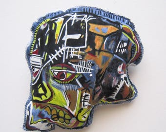 Basquiat skull art gift boy friend gift textile art blue wall sculpture gift graffiti art pop gift wall hangings birthday gift graduation