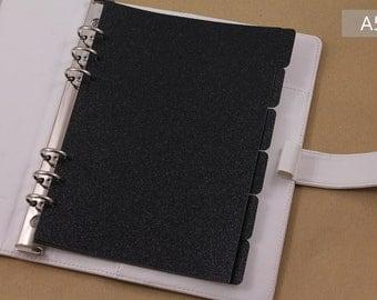 Black dividers set, A5 planner dividers, elegant planner accessories, black glitter dividers
