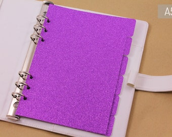 Violet personal dividers, A5 planner dividers set, 6 dividers glittered cardstock, violet dividers for planner with 6 rings
