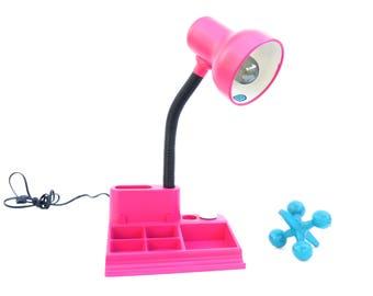Retro Modern Metal Fuchsia Desk Lamp + Organizer || 80's Hot Pink Articulating Task Lamp || Desk Lighting || Color Pop Office Decor