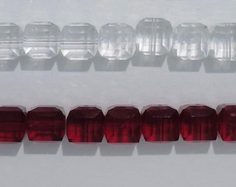 Crystal Cubes, SWAROVSKI® Crystal Article #5601 8MM, Square Crystal Beads, TEN(10) 8mm Crystal Cubes ,Siam or Clear Crystal