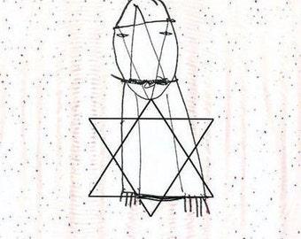 Original Jewish art, minimalist jewish drawing ooak, David Star decor, Jewish gift, Star of david art jewish painting, print Jewish wall art
