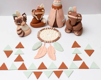 Fondant tribal woodland animals - See shipping section below for turnaround time