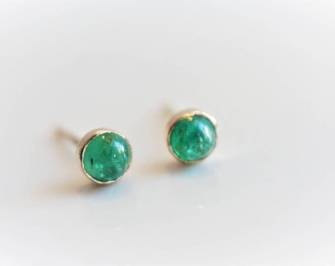 4 mm Genuine Zambian Emerald stud earrings - Emerald Studs - 14k gold bezel studs - May Birthstone EarringEs - Zambian Mine Emerald