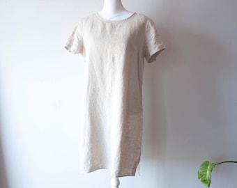 Vintage LL Bean Linen Dress / 1990s Clothing / 1990s Dress / Vintage Linen Dress / 90s Dress / Midi Dress / Long Linen Dress / Beige