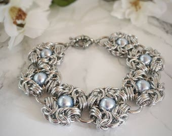 Romantic Medieval Wedding Bracelet - Blue Pearl Bridal Bracelet - Renaissance Style Wedding - Wedding Bracelet - Wedding Jewelry