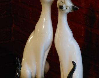 Vintage Tall Ceramic Siamese Cats