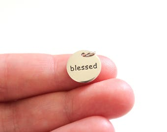 Sterling Silver Blessed Charm, Blessed Saying Pendant, Blessed Pendant, Family Charm, Blessed Charm, Family Pendant, Blessed Word Charm