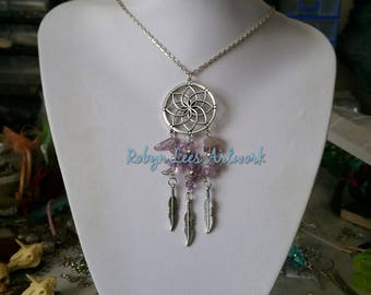 Large Statement Silver Dreamcatcher with Amethyst Crystal Chip Beads and Silver Feather Charms on Silver Chain, Black Cord or Braided Cord