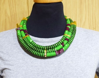 African fabric Necklace, African Necklace, African Print, Handmade Necklace, Collier Africain, Collier Wax africain, African fabric necklace