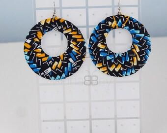 African fabric hoop earrings, creoles en tissu wax, bijoux ethniques, bijoux wax, african earrings for women, birthday gift, bijoux wax