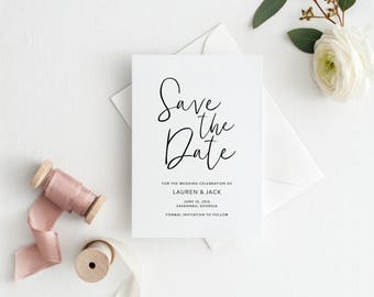Printable Save the Date | Calligraphy Save the Date | Modern Save the Date | Clean Simple Save the Date | SD-005