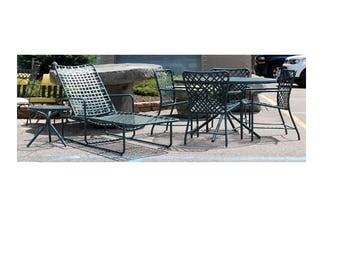 Mid Century Modern Brown Jordan Patio Set Chaise Lounge 2 Tables 4 Dining Chairs