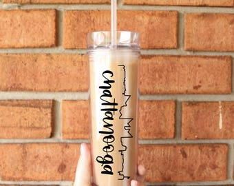 Chattanooga Skyline Tumbler | Chattanooga, Tennessee | Tall Skinny Coffee Tumbler | Iced Coffee Cup | Southern Sweetheart Gifts