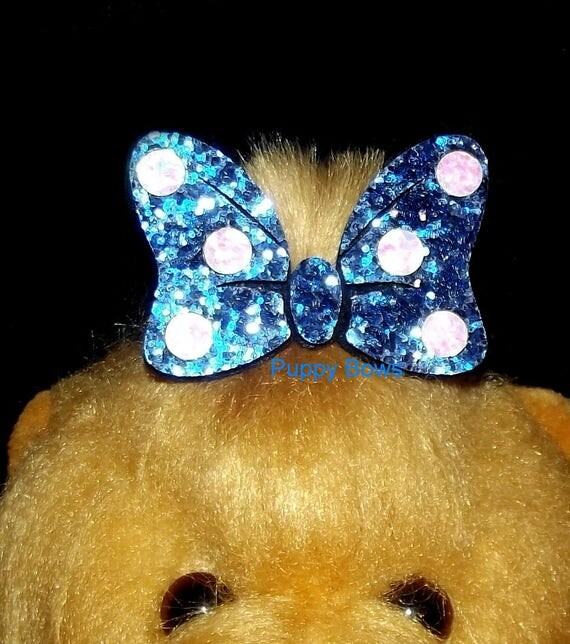 Puppy Bows ~ Minnie cute shiny glittery big dog hair bow lightweight pet hair barrette mouse ~Usa seller