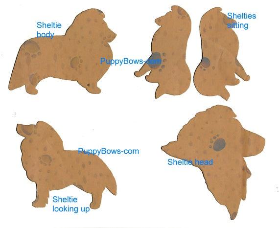 Puppy Bows ~ Sheltie Shetland Sheepdog dog breed plastic craft stencil 4 different poses