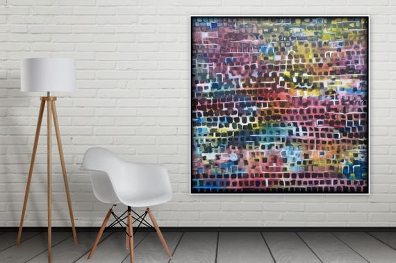 xl 48 X 48 original abstract painting cubism, contemporary large wall art acrylic painting by Marcy Chapman