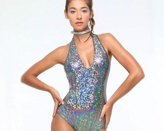Holographic Halter Bodysuit | 13 Colors | Burning Man Costume, Festival Clothes, Hoop, Performance, Aerial, Rave, EDM, Playsuit, Coachella