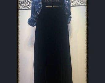 1990's Black Velvet Gothic Skirt by Layne Bryant, Size 14/16 XL, Size 16, Vintage Pin Up Skirt, Plus Size Velvet Goth Punk Skirt