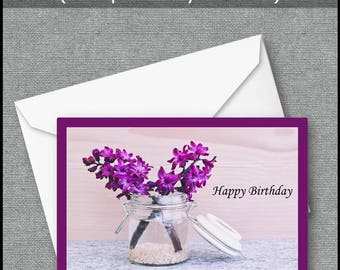 Greeting Card, Happy Birthday Card, Printable Birthday Card, Instant Download, Floral Card