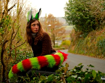 Bright Wild Cat Ear and Tail Set! Red & Green Stripey Candy Cane Raccoon Lynx Fluffy Headband Fursuit Ears Furry Costume BDSM Pet Play