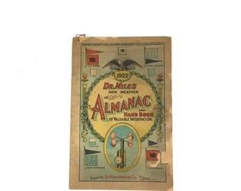 Antique 1922 Dr.Miles Almanac Hand Book Vintage 1920s Dr.Miles Medical Company Elkhart Indiana Alamanc Handbook
