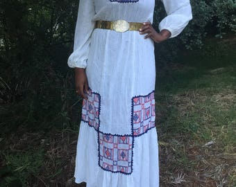 Vintage Ethnic Off White Long Sleeve Hand Cross Stitch w/Lace Maxi Dress-Traditional/Peasant/Wedding Dress