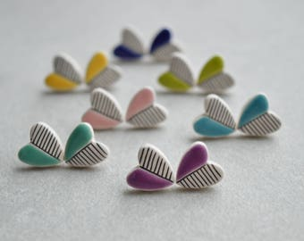 Heart stud earrings, geometric ceramic jewelry, teenage girl gift, Valentines day gift for her