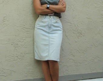 Faded Denim 90's Pencil Skirt