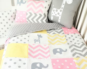 Patchwork quilt nursery set - Pink, yellow and grey elephants and giraffes