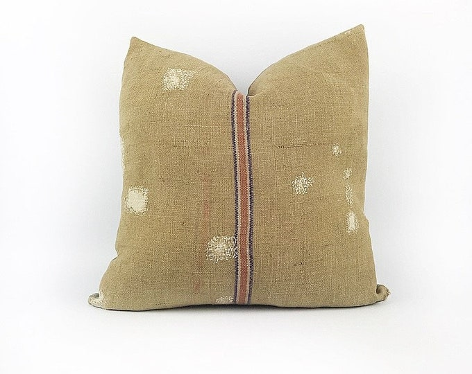 Vintage Patched Dark Tan Grain Sack Pillow Cover 18x18