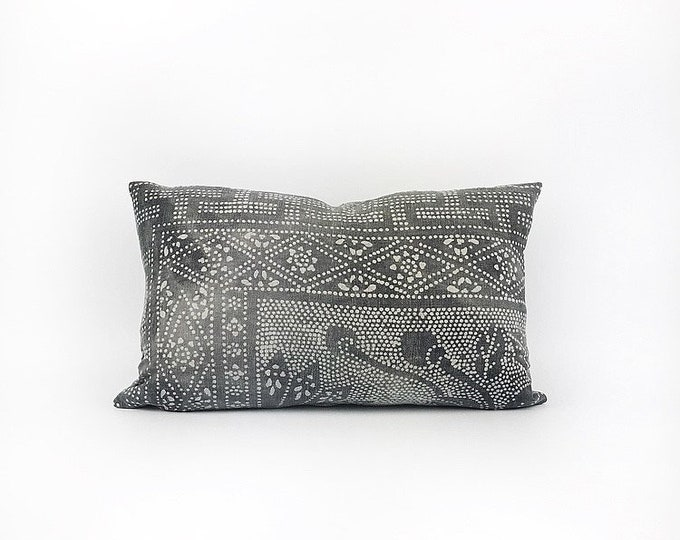 Vintage Dark Charcoal Gray Chinese Batik Lumbar Pillow Cover 12x20