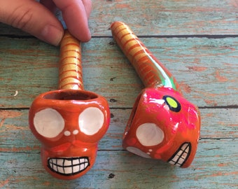 Orange Skull Pipe (Girly Pipe Day of Dead Mexican Ceramic Glass Smoking Pipe Tobacco Pipe Girls Sugar Skull Pipe Hand Painted Unique Pipe)