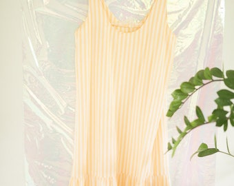 Vintage Yellow Striped Drop Waist Dress