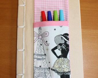 """CASE door pens for notebook size A5 (21cm x 14, 5 cm) """"La parisienne"""""""