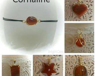 Carnelian pendant necklace and bracelet set brings good luck