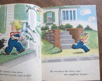 1940s Vintage Children's Book 'The Little Boy Who Ran Away' by Lucy~Colorful, Rounded Illustrations/Americana~Flawed/Upcycle; Free Ship/U.S.