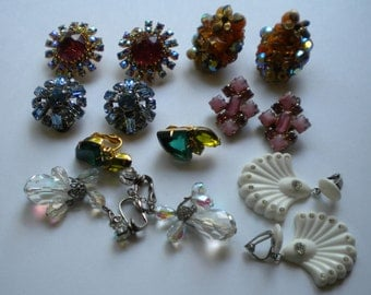 Vintage 40s-70s Earrings LOT#2: 7- Pair All Clip On Different Styles Some signed Le Rel Japan Rhinestone Earrings Dangler FREE Shipping