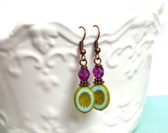 Green Purple Earrings, Picasso Glass, Vintage Earrings, Elegant Earrings, Bohemian Earrings, Gift for her, Gift Under 20 Dollar, Vintage